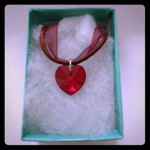 Jewelry - Sangria Red Crystal Heart Necklace